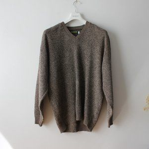 Vintage Brown V-Neck Sweater Made in Canada